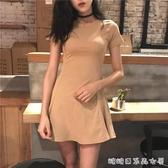 洋裝女春裝新款女裝時尚韓版修身顯瘦內搭打底短款裙子春夏 糖糖日系森女屋