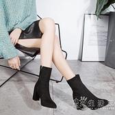尖頭馬丁靴女英倫風裸靴子女士高跟短靴韓版百搭中筒女靴春秋單靴 雙十一全館免運