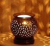 古典古樸陶瓷香薰燈 插電臥室精油燈台燈創意美容院可調光 向日葵