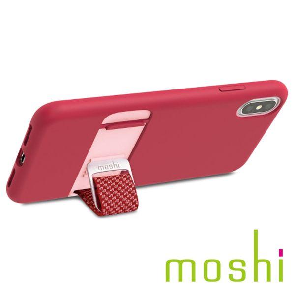 {原廠公司貨}Moshi Capto iPhone XS Max 指環支架織帶保護殼- 覆盆子粉紅