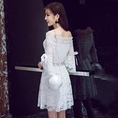 洋裝 小禮服 氣質性感一字領漏肩收腰顯瘦蕾絲蓬蓬裙名媛聚會連衣裙