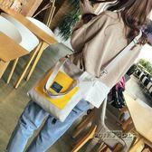 韓ins百搭休閒布袋大容量可拆卸單肩斜背2用購物袋帆布包女包