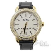 茱麗葉精品【全新現貨】 CCOACH W6052 經典馬車LOGO印花水鑽邊框石英腕錶.黑/金