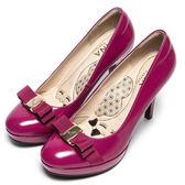 DIANA 漫步雲端厚切瞇眼美人款—立體緞面logo蝴蝶結真皮跟鞋-紫紅★特價商品恕不能換貨★