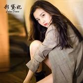 彩黛妃2019春夏新款韓版女裝修身顯瘦休閒西服格子商務小西裝外套 嬌糖小屋