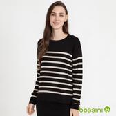 條紋圓領針織衫01黑-bossini女裝