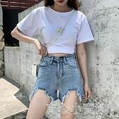 牛仔短褲 新款夏季牛仔短褲女高腰顯瘦a字寬鬆闊腿褲毛邊學生百搭熱褲 17育心