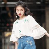 棉麻上衣 喇叭袖半袖上衣女夏新款韓版寬鬆白色t恤女短袖 芭蕾朵朵