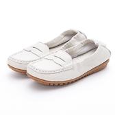 MICHELLE PARK 輕 舒適彈力牛皮馬克縫休閒鞋平底鞋米白