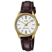 【CASIO】經典時尚金框皮革女仕腕錶-混搭數字白面(LTP-V005GL-7B)