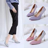 細跟鞋 網紅鞋子女新款時尚亮片貓跟鞋尖頭淺口單鞋性感高跟鞋 - 古梵希