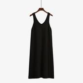連衣裙新款秋冬女裝黑色針織洋裝吊帶背心打底內搭裙子寬鬆中長款『快速出貨』