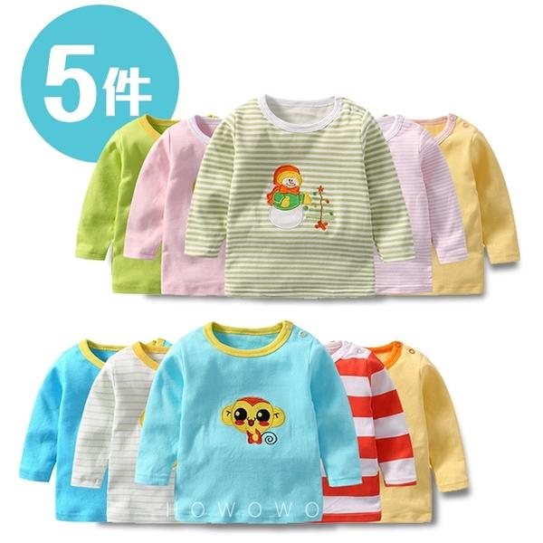 長袖上衣 嬰兒長袖上衣T恤 5件式 SZ66006好娃娃