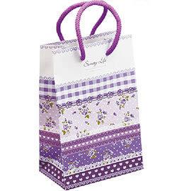 《荷包袋》手提紙袋 大8K 銅版雙牛 玫瑰園-紫 彩色