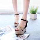 高跟鞋夏季女涼鞋高跟厚底楔形拼色女鞋子英倫鬆糕厚底防水台羅馬鞋 【全館免運】