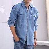 春款男牛仔襯衫長袖寬鬆加肥大碼工作夏短袖防曬上衣    西城故事