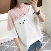 2018新款夏裝韓版寬鬆學生可愛兔子短袖T恤女拼接半袖體恤上衣服-Ifashion
