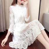 蕾絲連衣裙2韓版修身九分袖中長款收腰裙子夏