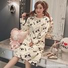 睡衣 珊瑚絨睡衣女加厚睡裙卡通法蘭絨女士冬季睡裙女中長款長袖家居服 星河光年