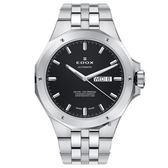 EDOX Delfin 海豚系列 專業200米日曆機械錶-黑x銀/43mm E88005.3M.NIN
