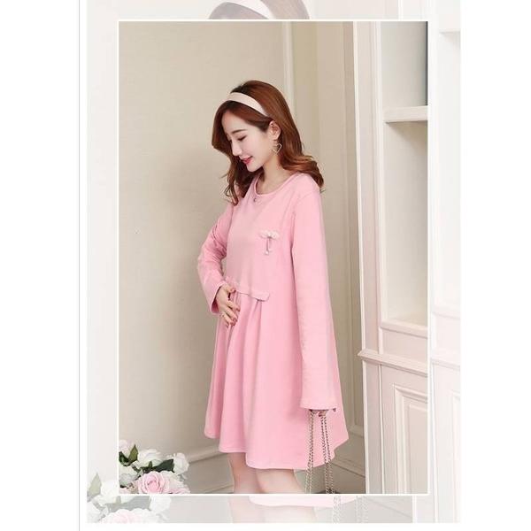 漂亮小媽咪 蝴蝶結短版洋裝 【D9201】韓系 質感 長袖 連衣裙 孕婦裝 洋裝