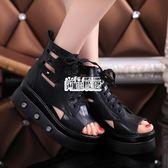 潮新款歐美魚嘴高跟鞋 鬆糕厚底防水台涼鞋鉚釘繫帶羅馬女鞋