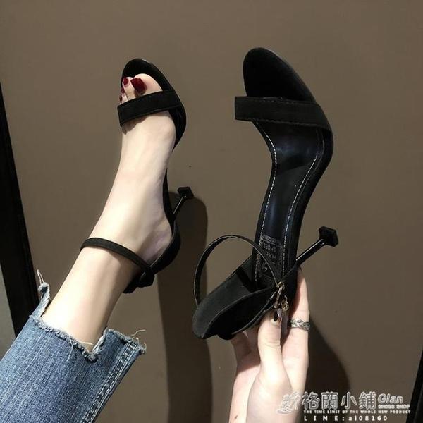 高跟鞋 性感新款網紅時裝女高跟鞋仙女細跟百搭黑色一字夏季學生涼鞋 喜迎新春 全館5折起