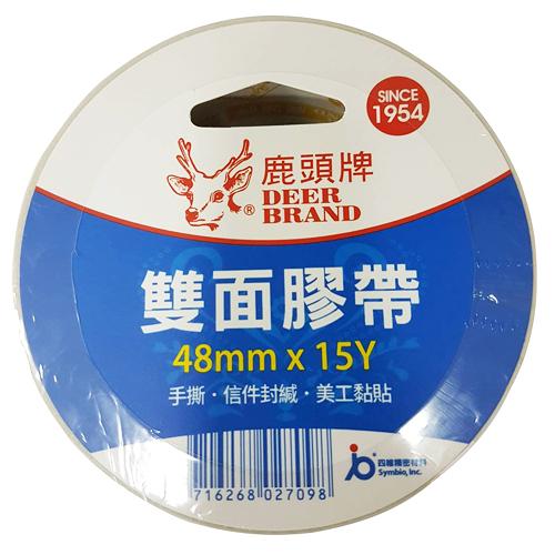 【奇奇文具】鹿頭牌 DSSLM-48mm×15y 棉紙 雙面膠帶