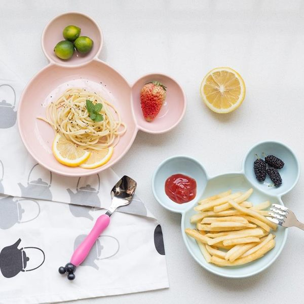 陶瓷寶寶餐盤盤子創意碗套裝兒童餐具飯盤卡通分格早餐盤 居享優品