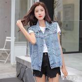 牛仔馬甲 女短款夏寬鬆復古學生時尚個性釘珠無袖背心外套 BT7207『寶貝兒童裝』