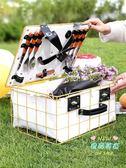 野餐籃子 戶外野餐籃子鐵藝籃子帶蓋保溫防水水果零食收納籃大號手提籃T 1色