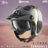 [中壢安信]SHARK X-DRAK 彩繪 TERRENCE 消光灰黃 玻璃纖維 越野 半罩 安全帽 HE2612AAY