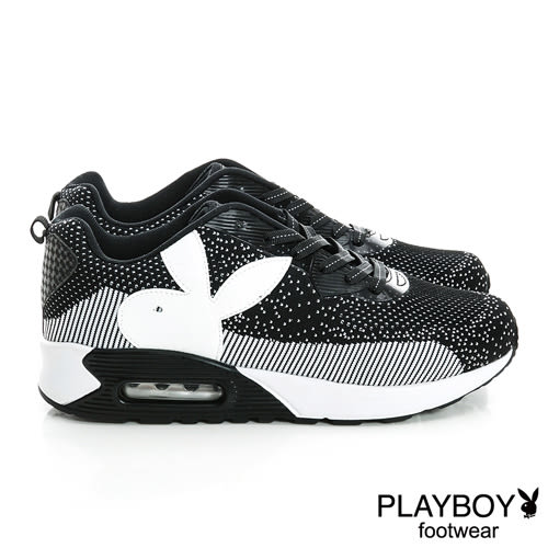 PLAYBOY  編織風 氣墊 休閒鞋-黑白