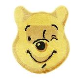 〔小禮堂〕迪士尼 小熊維尼 大臉造型絨毛地墊《黃》43x50cm.腳踏墊.地毯 4523251-43194