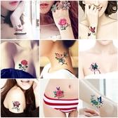 紋身貼 刺青 紋身貼 防水女持久 小清新 玫瑰花 蝴蝶 腳踝 鎖骨 仿真紋身貼紙