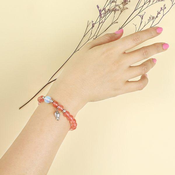 草莓晶手鍊-設計師經典手創系列-桃花滿分 石頭記