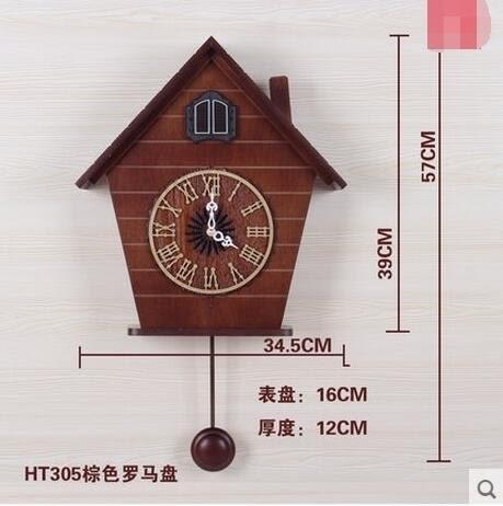 光控音樂報時布穀鳥鐘咕咕鐘表歐式時尚創意客廳田園掛鐘HTG305(羅馬款棕色)