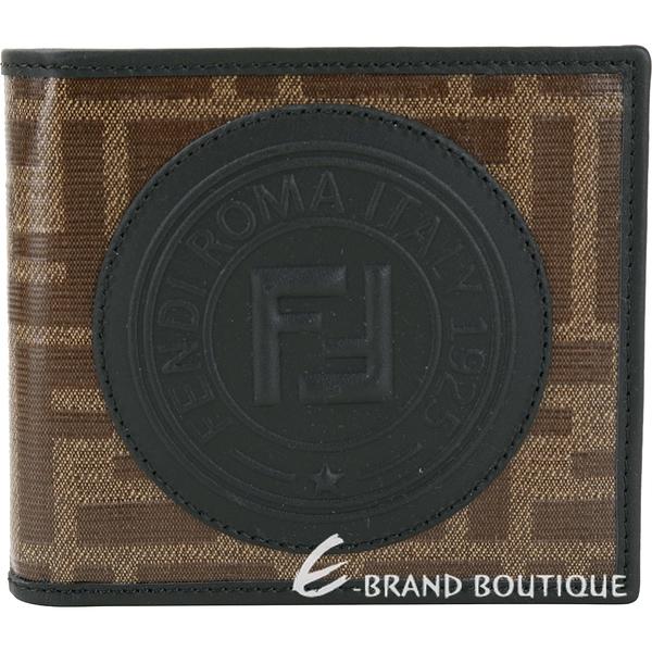 FENDI Stamp FF經典老花 釉面帆布對折短夾(黑色) 1920485-01
