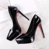 女鞋夏韓版高跟紅色新娘鞋細跟防水臺漆皮尖頭33小碼單鞋女士皮鞋「時尚彩紅屋」