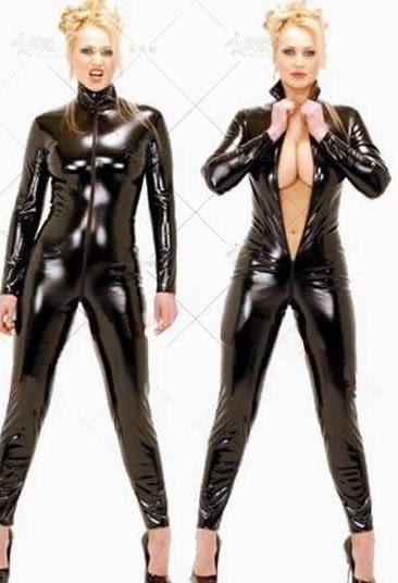 衣美姬♥歐美黑色 長袖連身衣 俱樂部派對表演服裝 仿皮 顯瘦款 舞台裝