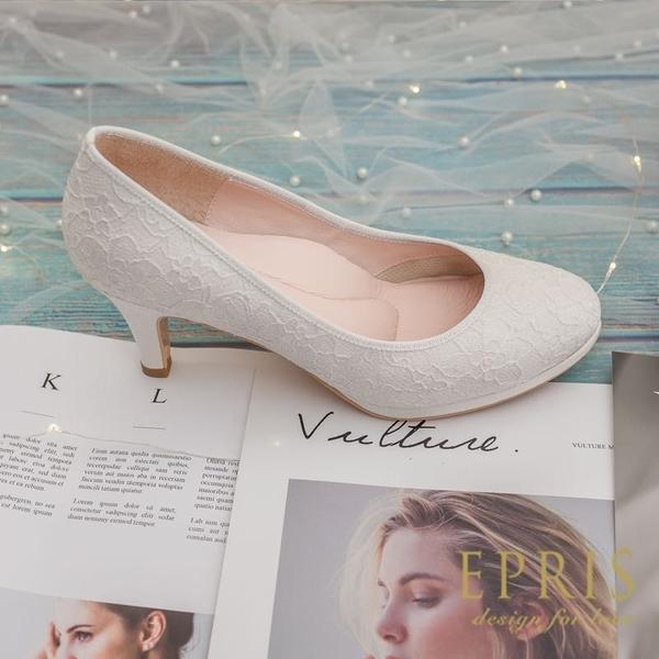 現貨 MIT小中大尺碼新娘婚鞋推薦 玫瑰女神 花朵蕾絲真皮腳墊高跟鞋21-26EPRIS艾佩絲-閃耀白
