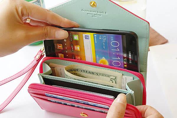 韓國皇冠多功能手機包 卡包 零錢包 錢包 卡夾 中夾 長夾 皮夾【SV2804】BO雜貨