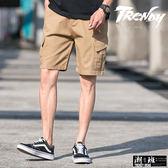 『潮段班』【HJ00K015】M-3L休閒寬鬆工裝褲多口袋五分褲 膝上褲