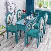 美甲桌椅套裝雙人單人三人新品複古美甲台桌椅凳綠色美甲桌wy