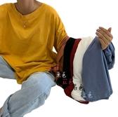 EASON SHOP(GW8756)韓版純色百搭款落肩寬鬆寬版圓領長袖素色棉T恤女上衣服打底內搭衫大尺碼閨蜜裝薄