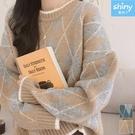 【V3161】shiny藍格子-甜漾冬天.復古撞色菱格寬鬆長袖毛衣上衣