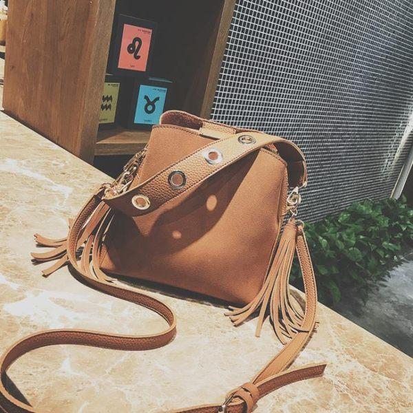 韓版時尚磨砂流蘇水桶包學生休閒側背包斜挎包女包h266