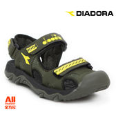 【Diadora 迪亞多那】大童款休閒護趾涼鞋 -軍綠色(D6085)全方位跑步概念館