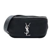 【台中米蘭站】全新品 YSL 銀logo帆布拉鍊斜背/腰包(590076-黑)