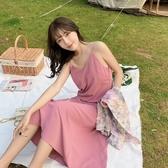 露揹洋裝 新款顯瘦長款夏天打底裙子女氣質ins風小心機露揹雪紡吊帶洋裝 果果生活館